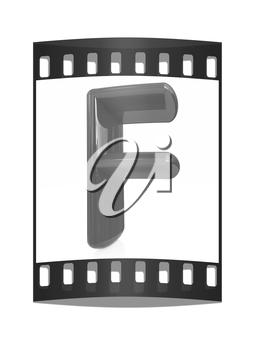 Alphabet on white background. Letter F on a white background. The film strip