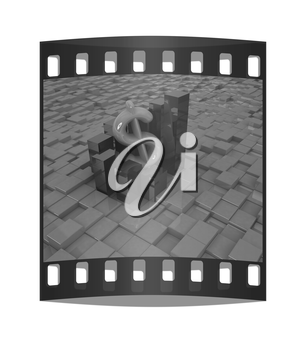 Currency dollar business graph on abstract urban background. The film strip