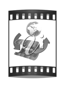 3d colorful abstract cut pipe and Earth on a white background. The film strip