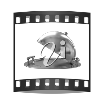 Restaurant cloche isolated on white background. The film strip