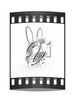 soft toy hare with a little red hearts on white paws and cosmos flower on a white background. The film strip