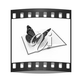 butterfly on a book on a white background. The film strip
