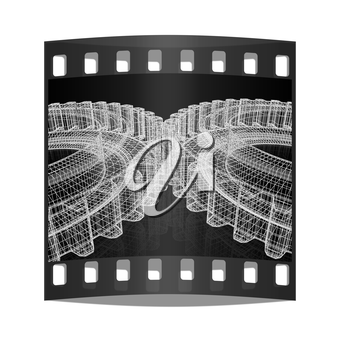3d model gears  set on black background. The film strip
