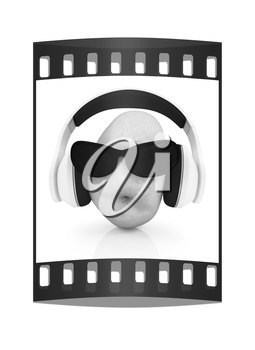potato with sun glass and headphones front face on a white background. The film strip