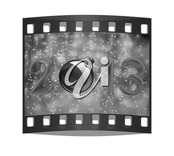 Year 2013 with bomb burning a festive background. The film strip