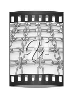 Gold chains on a white background. The film strip