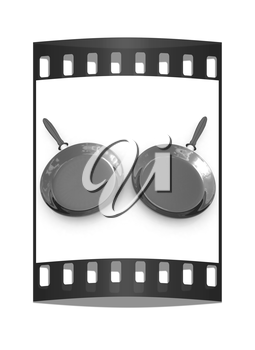 Pan with handle on white background. The film strip
