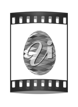 Easter Egg with colored strokes Isolated on white background. 3d. The film strip