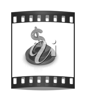 Dollar sign on podium. 3D icon on white background. The film strip