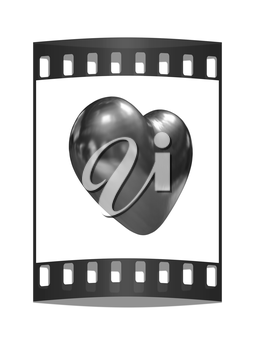 3d glossy metall heart isolated on white background. The film strip