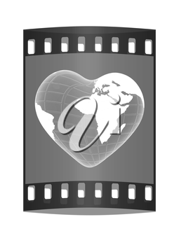 3d earth to heart symbol on a green background. The film strip
