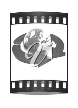 Earth with arrows on a white background. The film strip