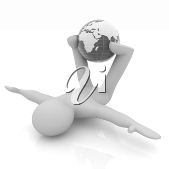 3d man exercising position on Earth - fitness ball. My biggest Global pilates series