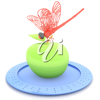 Dragonfly on apple on Serving dome or Cloche. Natural eating concept