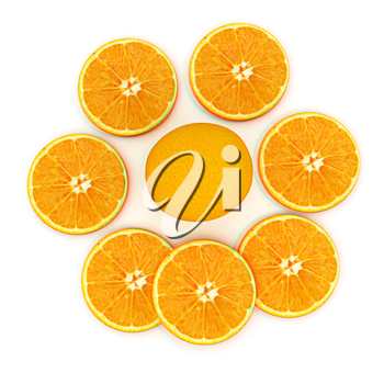 half oranges and oranges on a white background. 3D illustration. Anaglyph. View with red/cyan glasses to see in 3D.