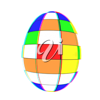 Easter egg on a white background. 3D illustration. Anaglyph. View with red/cyan glasses to see in 3D.