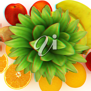 colorful citrus background. 3D illustration. Anaglyph. View with red/cyan glasses to see in 3D.