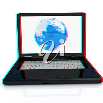 Computer Network Online concept on a white background. Anaglyph. View with red/cyan glasses to see in 3D. 3D illustration