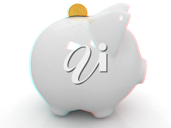 glass piggy bank and falling coins on white background. Anaglyph. View with red/cyan glasses to see in 3D. 3D illustration