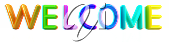 3d colorful text welcome on a white background. 3D illustration. Anaglyph. View with red/cyan glasses to see in 3D.