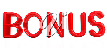 3d red text bonus on a white background. 3D illustration. Anaglyph. View with red/cyan glasses to see in 3D.