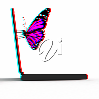 butterfly on a notebook on a white background. 3D illustration. Anaglyph. View with red/cyan glasses to see in 3D.