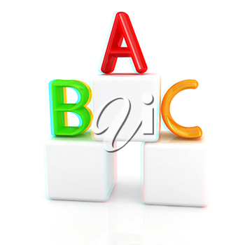 alphabet and blocks on a white background. 3D illustration. Anaglyph. View with red/cyan glasses to see in 3D.