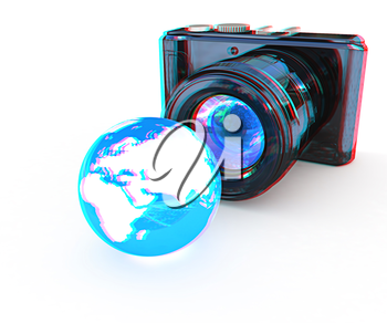 3d illustration of photographic camera and Earth on white background. 3D illustration. Anaglyph. View with red/cyan glasses to see in 3D.