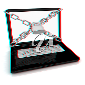 Laptop with lock and chain on a white background. 3D illustration. Anaglyph. View with red/cyan glasses to see in 3D.
