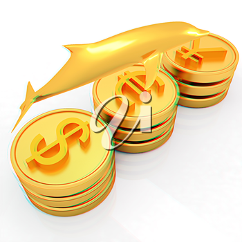 Gold coins with 3 major currencies with golden dolphin on a white background. 3D illustration. Anaglyph. View with red/cyan glasses to see in 3D.