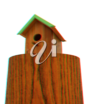Nest box birdhouse on a white background. 3D illustration. Anaglyph. View with red/cyan glasses to see in 3D.
