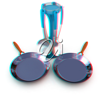 pan and cutlery on a white background. 3D illustration. Anaglyph. View with red/cyan glasses to see in 3D.