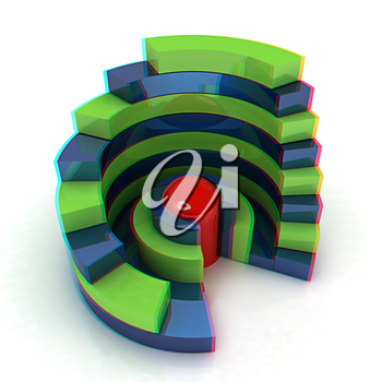 Abstract structure with red capsule in the center on a white background. 3D illustration. Anaglyph. View with red/cyan glasses to see in 3D.