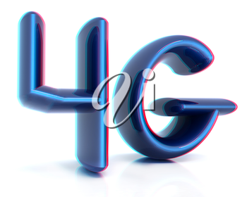 4g internet network. 3d text. 3D illustration. Anaglyph. View with red/cyan glasses to see in 3D.