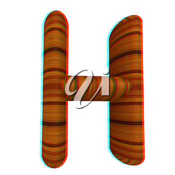 Wooden Alphabet. Letter H on a white background. 3D illustration. Anaglyph. View with red/cyan glasses to see in 3D.