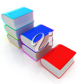 Glossy Books Icon isolated on a white background. 3D illustration. Anaglyph. View with red/cyan glasses to see in 3D.