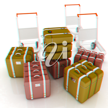 Trolley for luggage at the airport and luggage. 3D illustration. Anaglyph. View with red/cyan glasses to see in 3D.