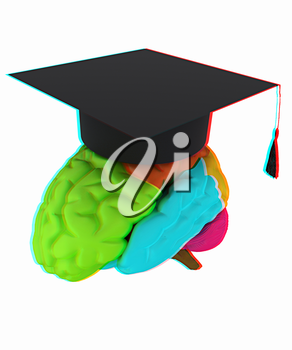 graduation hat on brain. 3D illustration. Anaglyph. View with red/cyan glasses to see in 3D.