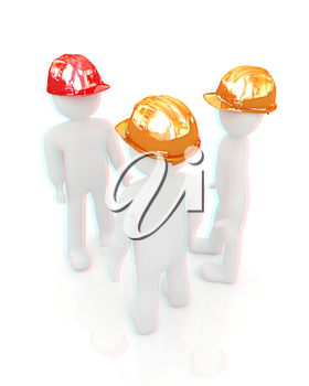 3d mans in a hard hat on a white background. 3D illustration. Anaglyph. View with red/cyan glasses to see in 3D.