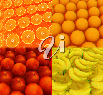 Citrus set beautiful backgrounds. 3D illustration. Anaglyph. View with red/cyan glasses to see in 3D.