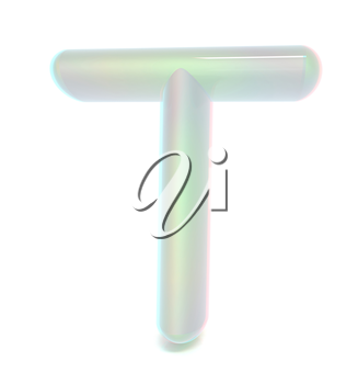 Glossy alphabet. The letter T. 3D illustration. Anaglyph. View with red/cyan glasses to see in 3D.