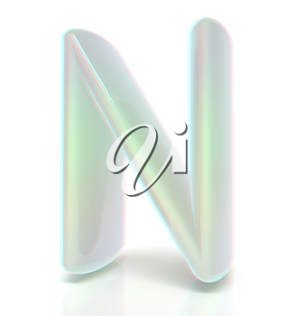 Glossy alphabet. The letter N. 3D illustration. Anaglyph. View with red/cyan glasses to see in 3D.
