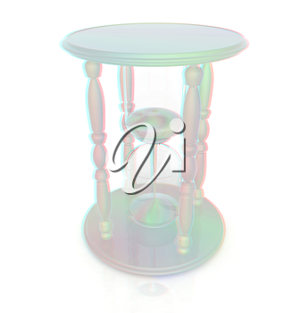 Fantastic hourglass. 3D illustration. Anaglyph. View with red/cyan glasses to see in 3D.