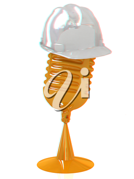 New 3d concept of technology education with microphone and hard hat. 3D illustration. Anaglyph. View with red/cyan glasses to see in 3D.