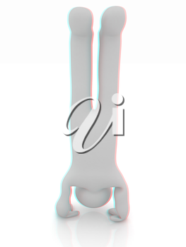 3d man isolated on white. Series: morning exercises - performs three-point head stand with hands on floor. 3D illustration. Anaglyph. View with red/cyan glasses to see in 3D.