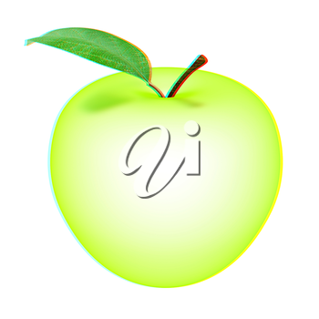 Green apple, isolated on white background . 3D illustration. Anaglyph. View with red/cyan glasses to see in 3D.