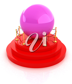 Glossy pink ball on podium on a white background . 3D illustration. Anaglyph. View with red/cyan glasses to see in 3D.