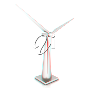 Wind turbine isolated on white . 3D illustration. Anaglyph. View with red/cyan glasses to see in 3D.