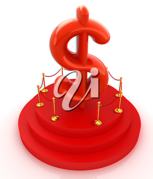 Dollar sign on podium. 3D icon on white background . 3D illustration. Anaglyph. View with red/cyan glasses to see in 3D.