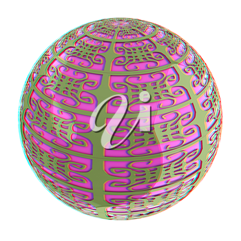 Arabic abstract glossy dark green geometric sphere and pink sphere inside. 3D illustration. Anaglyph. View with red/cyan glasses to see in 3D.